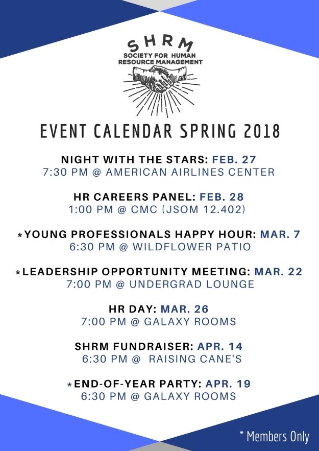 SHRM Spring 18 Calendar