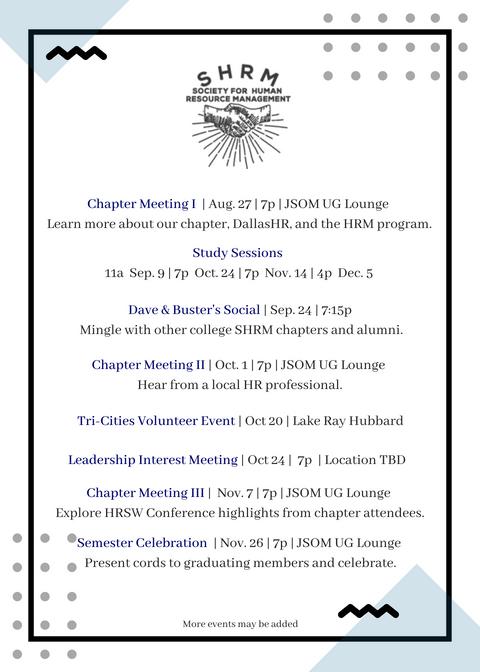 Event Calendar SHRM Fall